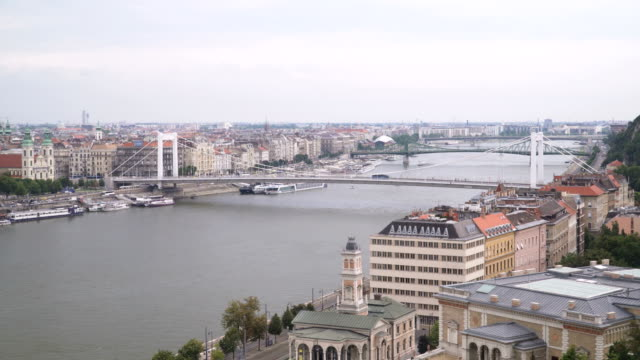 Cityscape of Budapest at day with Elisabeth Bridge from the Castle Hill