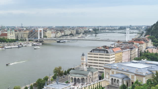 tl: cityscape of budapest at day with elisabeth bridge from the castle hill - castle hill budapest stock videos and b-roll footage