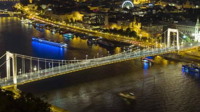 tl: cityscape of budapest on elisabeth bridge at night from the castle hill - castle hill budapest stock videos and b-roll footage