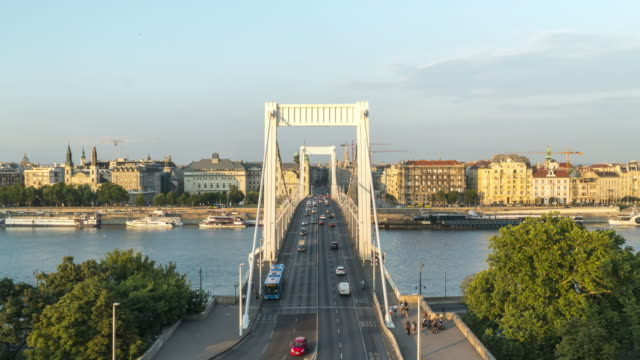 tl: cityscape of budapest on elisabeth bridge at sunset from the castle hill - castle hill budapest stock videos and b-roll footage