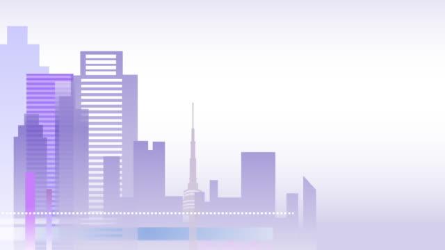 vídeos de stock e filmes b-roll de cityscape of building shape - design plano