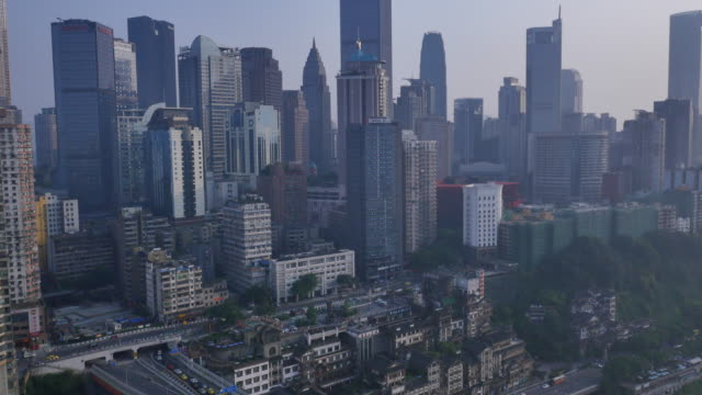 cityscape of chongqing in aerial view - approaching stock videos & royalty-free footage