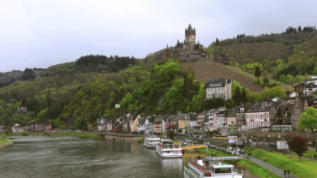 cityscape of cochem and the river moselle, germany - deutschland stock videos & royalty-free footage