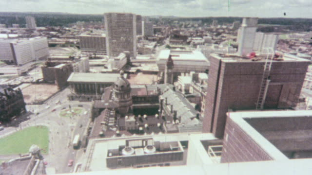 1976 montage cityscape of crowded buildings and skyscrapers built during the redevelopment / birmingham, england, united kingdom - birmingham england stock videos & royalty-free footage