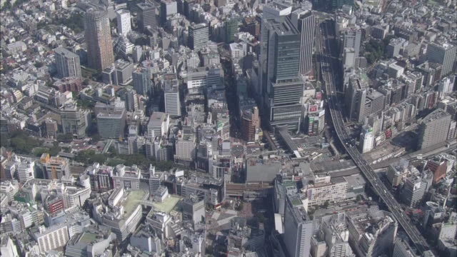 aerial, cityscape of downtown, tokyo - shibuya station stock videos and b-roll footage