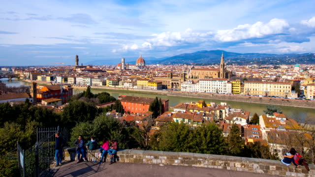 cityscape of firenze including piazzale michelangelo(town square) and duomo santa maria del fiore(famous cathedral) from ponte vecchio bridge - tuscany stock videos and b-roll footage