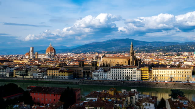 cityscape of firenze including piazzale michelangelo(town square), duomo santa maria del fiore(popular cathedral) and ponte vecchio bridge - florence italy stock videos & royalty-free footage