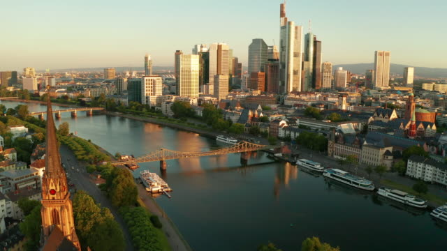 cityscape of frankfurt am main at sunrise. aerial view - frankfurt main stock videos & royalty-free footage