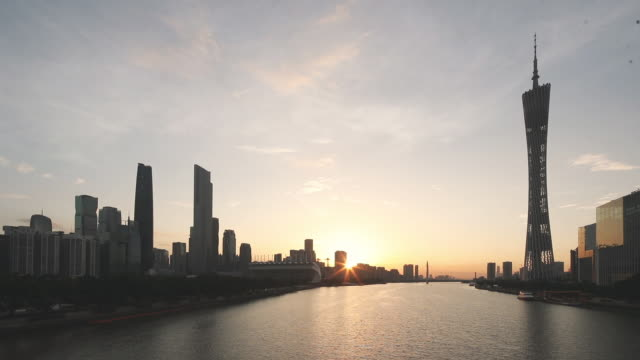 cityscape of guangzhou with sunrise - guangzhou stock videos & royalty-free footage