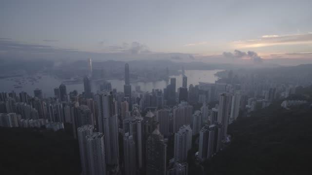 vidéos et rushes de cityscape of hong kong from victoria peak, china - victoria peak
