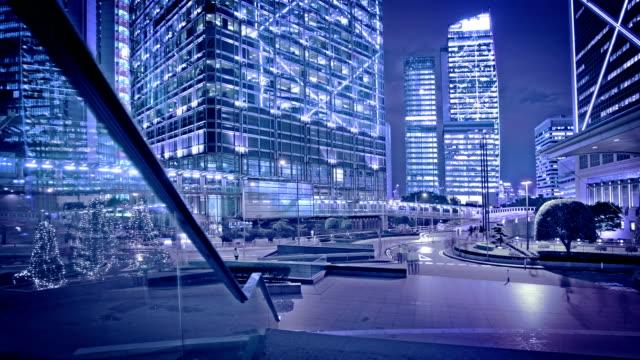cityscape of hong kong island at night. - hong kong island stock videos & royalty-free footage