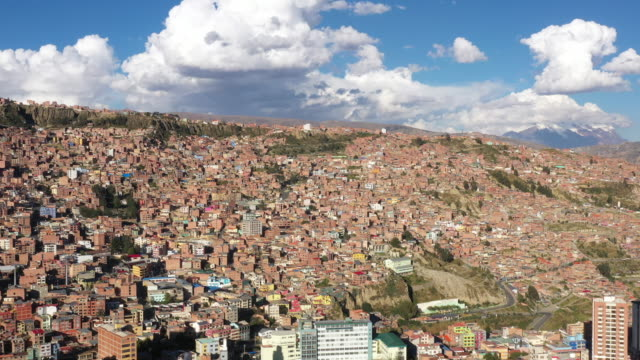 cityscape of la paz with illimani mountain / la paz, bolivia - la paz bolivia stock videos & royalty-free footage