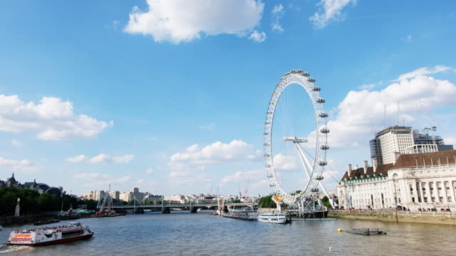 cityscape of london on the thames with the london eye and queen's walk shown - millennium wheel stock videos & royalty-free footage