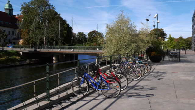 cityscape of malmo, sweden - bicycles parked near building - malmo stock videos and b-roll footage
