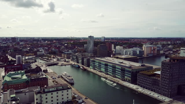Cityscape of Malmo, Sweden - commercial dock and residential building complex
