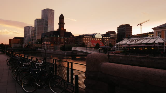 Cityscape of Malmo, Sweden - sunset at canal and bicycles