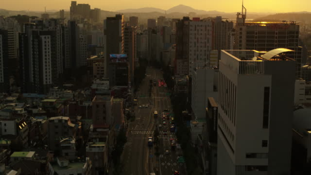 cityscape of mapo-gu and seodaemun-gu district at sunset / seoul, south korea - high up stock videos & royalty-free footage