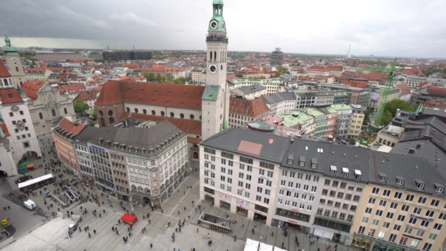 cityscape of marienplatz square at munich - east germany stock videos and b-roll footage