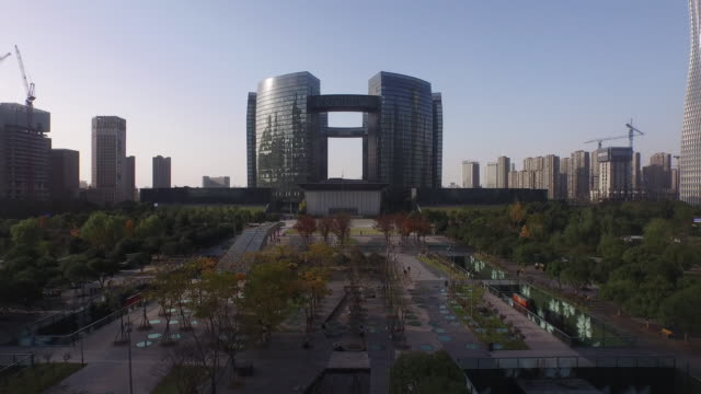 cityscape of modern city hangzhou, shoot by drones,4k,hangzhou, china - hangzhou stock videos & royalty-free footage