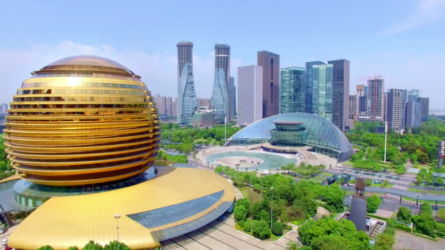 cityscape of modern city hangzhou,shoot by drones,4k - hangzhou stock videos & royalty-free footage