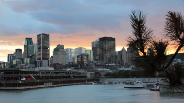 4k cityscape of montreal, quebec, canada at sunset - montreal stock videos and b-roll footage