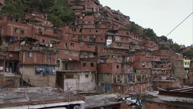 ws pan cityscape of mountainside slums in petare / caracas, miranda, venezuela - caracas stock videos & royalty-free footage