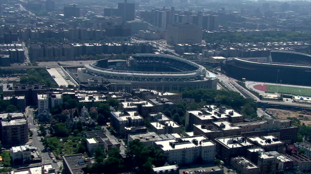 WS AERIAL Cityscape of New Yankee Stadium with old yankee stadium, bronx / New York, New York, USA