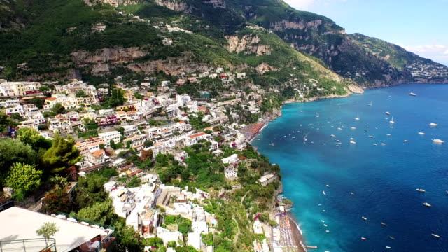 Cityscape of Positano with sea