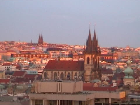 cityscape of prague during sunset - eastern european culture stock videos & royalty-free footage