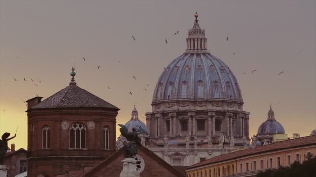 Cityscape of Rome at sunset: Domes and skyline