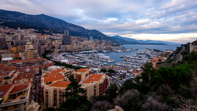cityscape of royal palace of monaco and harbor - royal palace monaco stock videos and b-roll footage