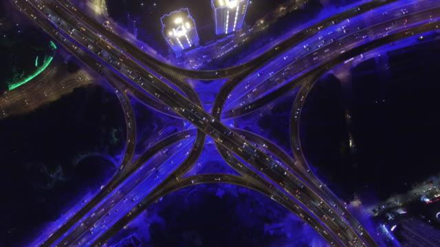 vidéos et rushes de cityscape of shanghai at night shot by drone, shanghai, china - shanghai