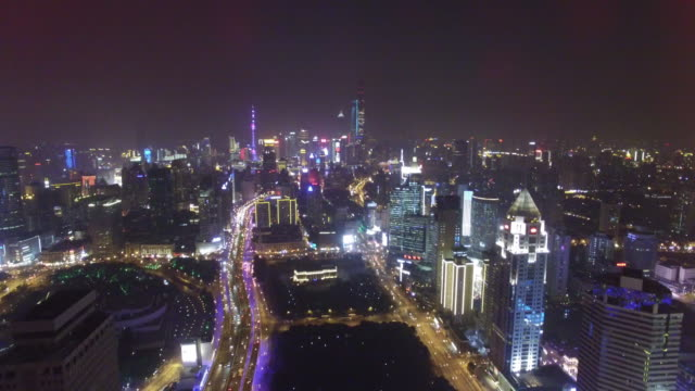 Cityscape of shanghai at night shot by drone, Shanghai, China