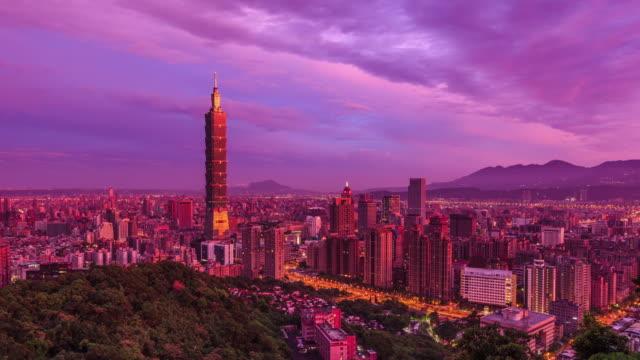 Cityscape van de stad van Taipeh van dag naar nacht, Taiwan