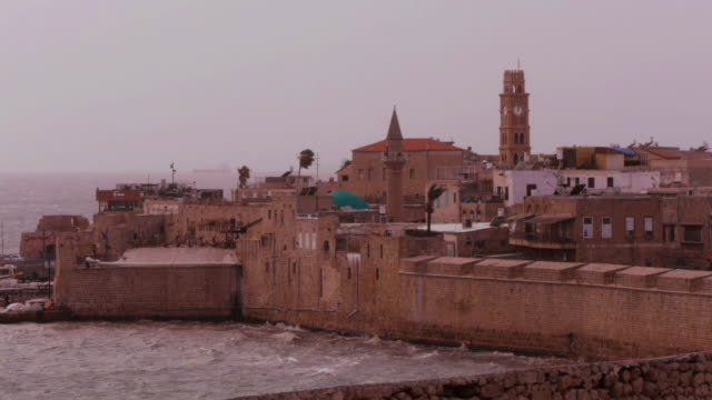 cityscape of the medieval old city of akko, israel, middle east - akko stock videos and b-roll footage