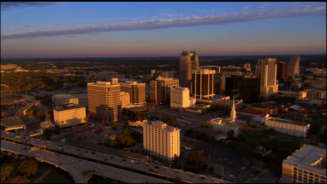 aerial, cityscape, orlando, florida, usa - orlando florida stock videos & royalty-free footage