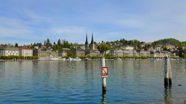 cityscape over lucerne and lake with passenger craft - passenger craft stock videos & royalty-free footage