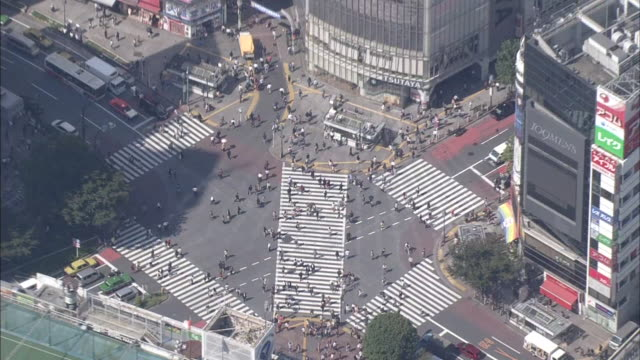 aerial, cityscape over shibuya, tokyo - shibuya crossing stock videos & royalty-free footage