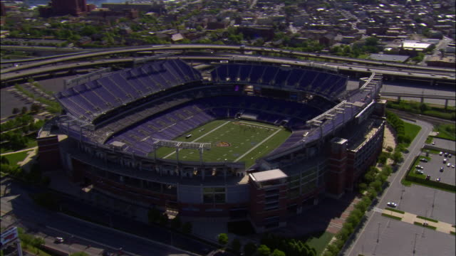 AERIAL, cityscape, Raven Stadium, Baltimore, Maryland, USA
