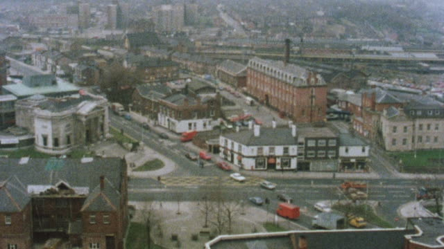 1983 montage cityscape showing the town hall / stockport, england, united kingdom - stockport bildbanksvideor och videomaterial från bakom kulisserna