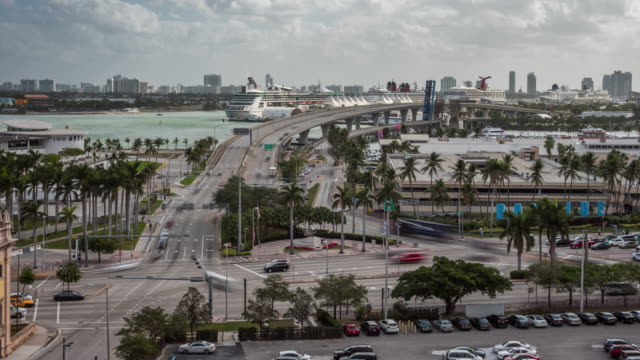 cityscape time lapse of car traffic on the heavy crossroad in miami, florida. usa - south stock videos & royalty-free footage