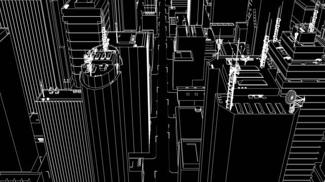 cityscape (loop). - wire frame model bildbanksvideor och videomaterial från bakom kulisserna