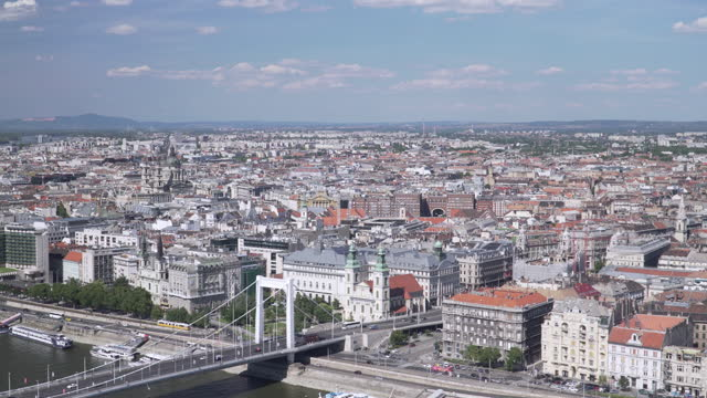 cityscape view of budapest, hungary, including elisabeth bridge,  hungarian parliament, and széchenyi chain bridge, panning view, concept of city view in clear sky summer - traditionally hungarian stock videos & royalty-free footage