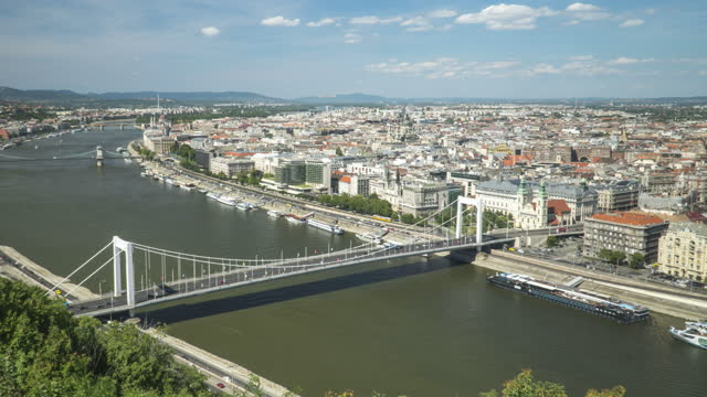 cityscape view of budapest, hungary, including elisabeth bridge,  hungarian parliament, and széchenyi chain bridge, timelapse tilt view, concept of city view - széchenyi chain bridge stock videos & royalty-free footage