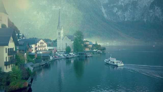 cityscape view of hallstatt village austria cinemagraph - german culture stock videos and b-roll footage