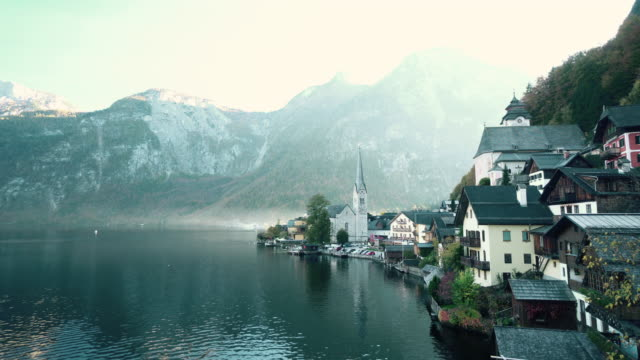 cityscape view of hallstatt village austria - tranquil scene stock videos & royalty-free footage