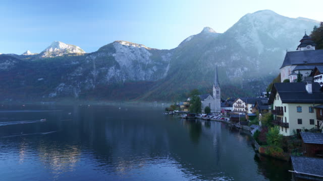cityscape view of hallstatt village austria - austrian culture stock videos & royalty-free footage