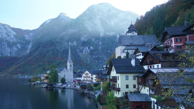 cityscape view of hallstatt village austria - austria stock videos and b-roll footage
