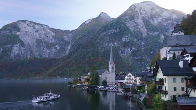 ハルシュタット村オーストリアの都市景観ビュー - アッパーオーストリア点の映像素材/bロール