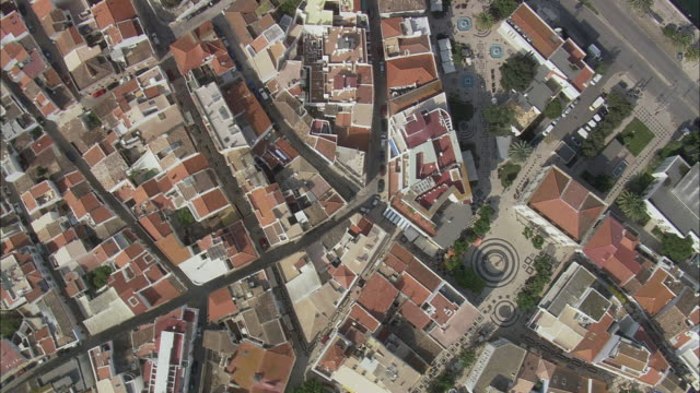 AERIAL WS Cityscape viewed from above / Lagos, Faro, Portugal